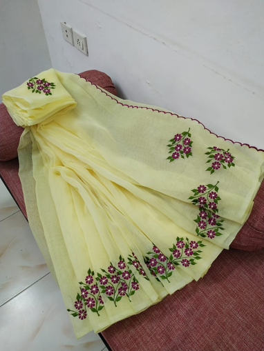 Kota doria embroidery work saree
