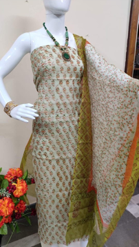 Kota doria block print salwar suits in green