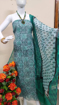 Kota doria suits with block print work in blue color