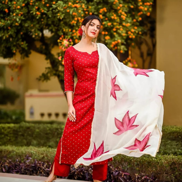 Red color  party wear kurti pants set with dupatta