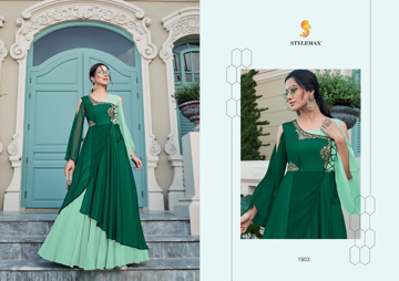 Green Designer Ethnic Gowns For Women