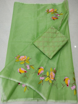 Green color embroidered saree for women