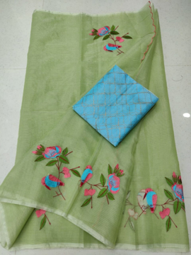 Fern green color kota doria saree with embroidery