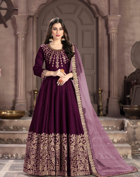 Burgundy Traditional Ethnic Gown With Dupatta