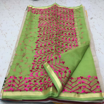 Green Color Aari Work Sarees