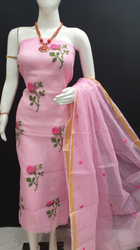Kota Doria Suit With Rose Embroidery Work
