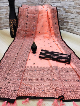 Soft linen cotton slub saree with ikkat style print blouse