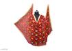Phulkari Embroidered Chiffon Dupatta Coral