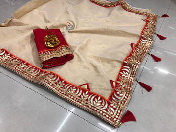 Beautiful Chanderi Cotton Saree For Hot Summer in Peach Color