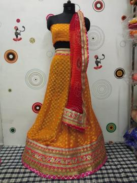 Georgette Dollar Lahenga Choli in Orange Color