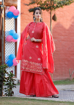 Women's Rayon Straight Kurti with Sharara and Dupatta In Red Color