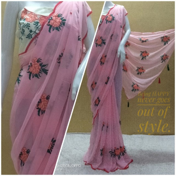Buy Banglori Silk With Georgette Embroidery Saree at Best Prices on UdaipurBazar.com