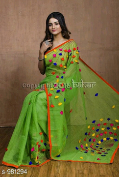 Buy Green Color Cotton Silk Saree with Pompom Work on Pallu at Best Prices in Udaipur