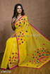 Buy Yellow Color Cotton Silk Saree with Pompom Work on Pallu at Best Prices in Udaipur