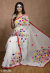 Buy White Color Cotton Silk Saree with Pompom Work on Pallu at Best Prices in Udaipur