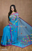 Buy Blue Color Cotton Silk Saree with Pompom Work on Pallu at Best Prices in Udaipur
