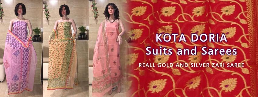 Kota Doria Cotton Salwar Suits, Dress Materials, Aari Work, Embroidery, Block Print, Self Print, Gotta Patti