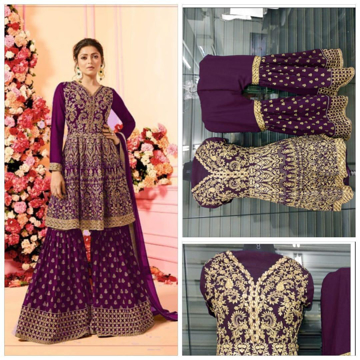 Party Wear Georgette Palazzo Suit With Embroidery Work in Purple Color