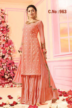 Buy Faux Georgette Palazzo Suits, Embroidery Palazzo Suits, Faux Georgette Salwar Kameez  in Pink Color on UdaipurBazar.com