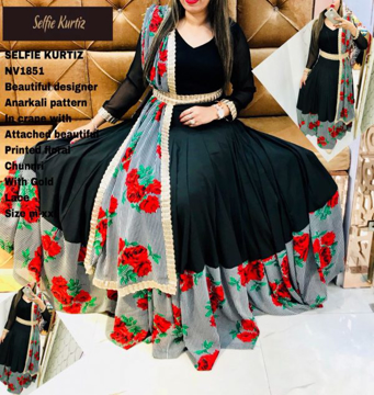 Buy Selfie Kurtis - Beautiful Designer Anarkali Pattern in Crane with Attached Beautiful Printed Floral Chunri with Gold Lace Online at Best Prices on UdaipurBazar.com