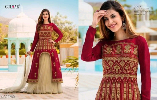 Buy Red Color Designer Party Wear Gowns Full Sleeves Semi Stitched