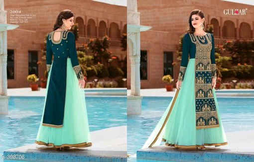 Buy Teal Color Designer Party Wear Gowns Full Sleeves Semi Stitched