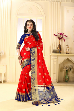Buy Designer Red Kanjivaram Jacquard Silk Saree at Best Prices in Udaipur