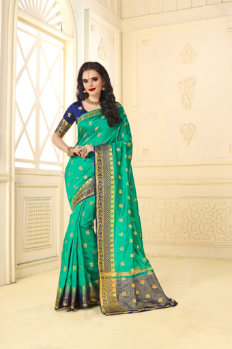 Buy Designer Green Kanjivaram Jacquard Silk Saree at Best Prices in Udaipur on UdaipurBazar.com