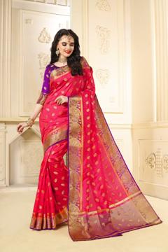 Buy Designer Pink Kanjivaram Jacquard Silk Saree at Best Prices in Udaipur