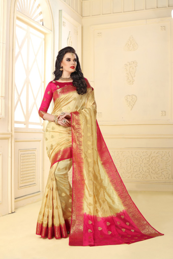 Buy Designer Gold Kanjivaram Jacquard Silk Saree at Best Prices in Udaipur