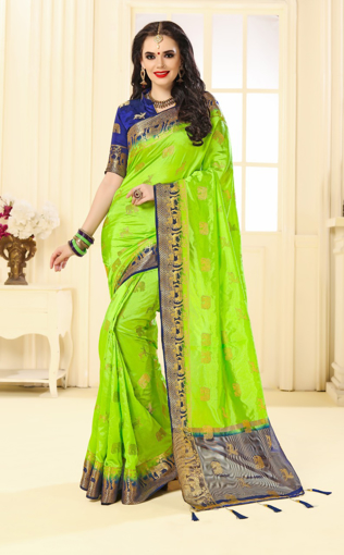 Buy Designer Fluorescent Green Kanjivaram Jacquard Silk Saree at Best Prices in Udaipur