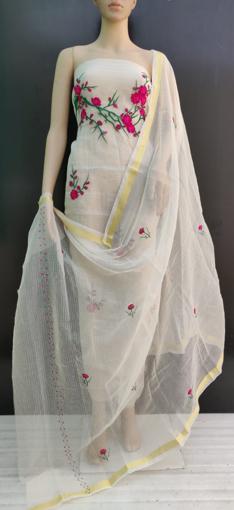 Kota Doria Cotton Suits Online - Embroidery Work Ladies Suits