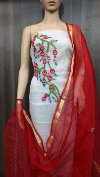 Kota Doria Embroidery Work Suits Online - White Floral Design