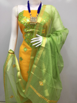 Kota Doria Salwar Suit with Gota Patti Work Online