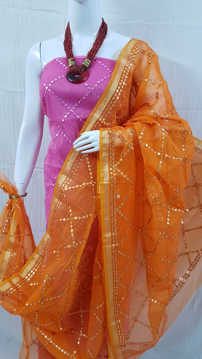 Kota Doria Cotton Salwar Suit with Gota Patti Work Online