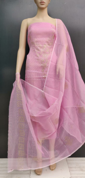 Picture of Kota Doria Glitter Paste Dress Material with bottom