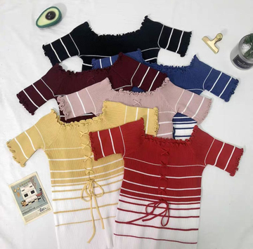 Striped knitted slash neck short sleeves winter top (yellow, blue, red, blue, maroon)
