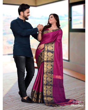 Couple combo set for party with saree for women and matching kurta for men