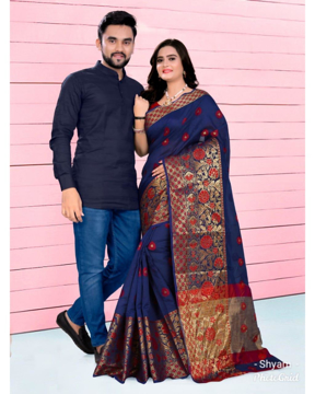 Couple combo set for party with saree for women and matching kurta for men(dark blue)
