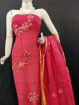 Kota Doria Embroidery Suits Dress Material Red Color