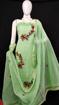Kota Doria Embroidery Suits Dress Material Green Color