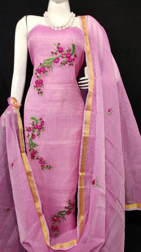 Kota Doria Embroidery Suits Dress Material Purple Color