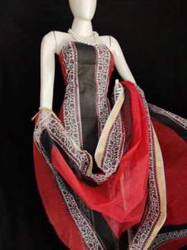 Kota Doria Printed Cotton Suit in Black Color