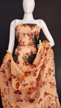 Kota Doria Screen Print Salwar Suit Dress Material