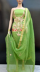 Buy Women's Cotton Kota Doria Gota Patti Work Suit Green Color