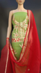 Buy Women's Cotton Kota Doria Gota Patti Work Suit Light Green Color Red Dupatta