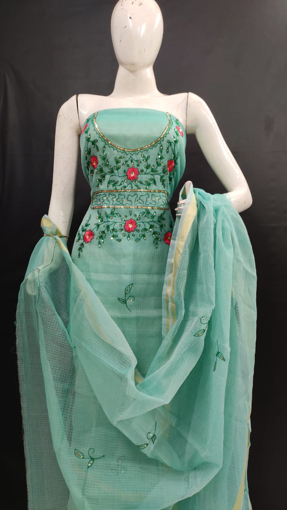 Picture of Kota Doria Cotton Handwork Suits Dress Material