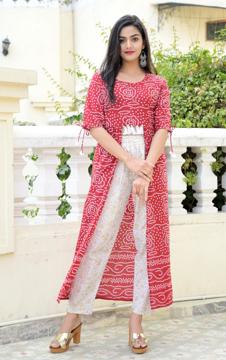 Bandhej print kurta with foil printed palazzo set