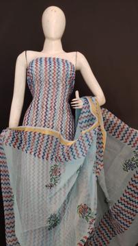 Kota Doria printed suit material