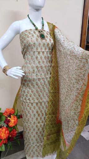 Kota doria block print salwar suits in green